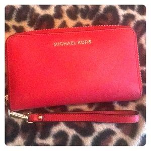 Red Michael Kors Saffiano leather wristlet
